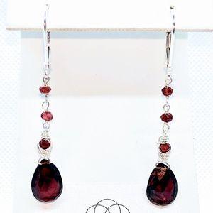 Garnet and 92.5 sterling silver earrings $50
